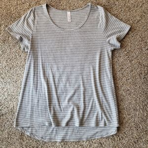 Gray Lularoe Perfect T Striped Top